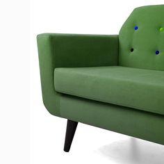 Flower Mid-Century Modern Classic 2 Seater Sofa Green 7
