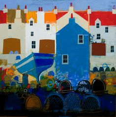 Blues IV by George Birrell on display at Gallery Heinzel Aberdeen - Modern City Illustration, Graphic Design Illustration, Fantasy Paintings, Fantasy Art, Art Pictures, Art Images, Funky Art, Naive Art, Art Lessons
