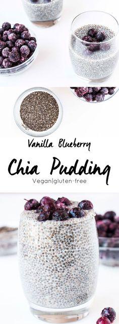 Vanilla Blueberry Chia Pudding // healthy, protein packed, sugar free, gluten free, vegan