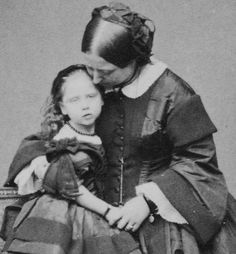 Tea Time at Winter Palace: Queen Victoria and her youngest child Princess Beatrice-May 1860