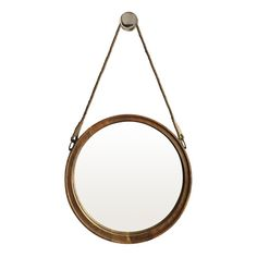 OneWorld Collection Large Round Timber Mirror with Rope $249Handle