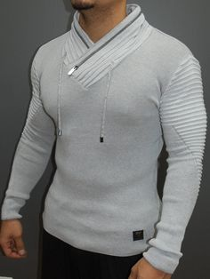 2dd24de2 R&R Men Stylish Ribbed Zipper Mock Neck Sweater 2 - White Mens Designer  Watches, Jacket