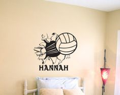 volleyball bursting through wall vinyl wall decal sticker art - Volleyball Bedroom Decor
