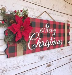 Your place to buy and sell all things handmade : Buffalo Plaid Christmas Decor Merry Christmas Sign Christmas Christmas Wood Crafts, Christmas Mantels, Holiday Crafts, Christmas Holidays, Christmas Wreaths, All Things Christmas, Christmas Crafts To Make And Sell, Diy Christmas Projects, Diy Christmas Wall Decor
