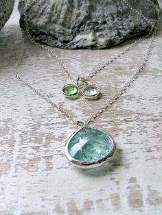 Layered Birthstone Necklace,Erinite Necklace,Aquamarine,Birthstone Necklace,Sterling Silver,Bridesmaid Jewelry,Beach Wedding,Personalized by LetItBeLove on Etsy