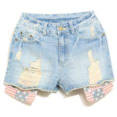 Classic Broken Hole Flag Pattern Pocket Bleach Wash Denim Shorts For... ❤ liked on Polyvore