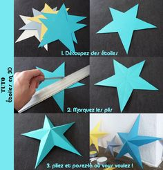Ideas For Origami Facile Tuto Noel Origami And Kirigami, Origami Stars, Diy Origami, Diy And Crafts, Christmas Crafts, Christmas Decorations, Noel Christmas, Diy Paper, Paper Crafts