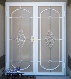 Wrought iron security screen double doors.