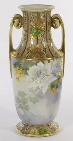 Antique Nippon Porcelain Marks | Nippon Porcelain Double handled Floral Vase Morimura