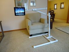 "Pictures of a ""build it yourself"" PVC iPad Stand"