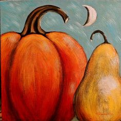 Primitive Folk Art Painting | Primitive Folk Art Acrylic Pumpkin Pear Moon Painting Gallery Wrap ...