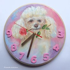 Poodle portrait PAINTED CLOCK DOG Funny clock Dog on face #pink #white #poodle #wallclock #clock #funny #dogs #doglovers #handmade #nursery