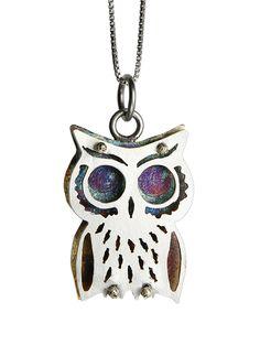 Owl Pendant, Robyn Cornelius, Little Rock Jewellery Studio, Sterling Silver, Liver of Sulfur Patina