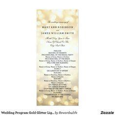 "Wedding Program Gold Glitter Lights Elegant ""Wedding Ceremony Program"" design with Gold Glitter Lights and custom text."