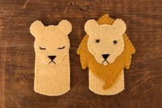 Lion & Lioness Felt Finger Puppets by LumpyButtonsGifts on Etsy