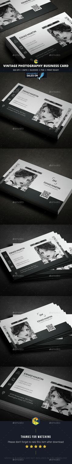 Buy Vintage Photography Business Card by DesignerEshad on GraphicRiver. Corporate Id, Branding Design, Branding Ideas, Business Card Design Inspiration, Photography Business Cards, Portfolio Logo, Facebook Timeline Covers, Graphic Design, Design Web
