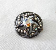 Vintage Silver Brooch French Set With Aurora by LaCassoulere, €15.00 SOLD