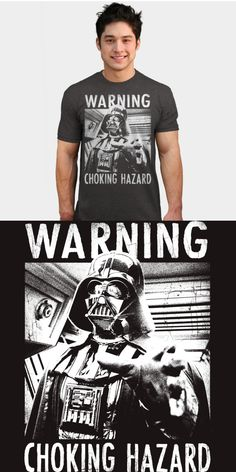 Darth Vader Choking Hazard T Shirt | Not many shirts come with a health warning, but this funny force choke tee does! Official Star Wars merchandise. | Visit http://shirtminion.com/2016/01/darth-vader-choking-hazard-t-shirt/