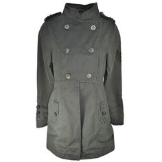 Fitted Double Breast Military Studded Khaki Green Parka Jacket Coat Womens Size