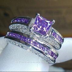 Beautiful amethyst wedding set 10kt White Gold Filled Engagement Wedding Ring Set amethyst and diamondique size 8 Jewelry