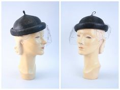 vintage 1950s woven hat  black straw pixie topper / by AgeofMint