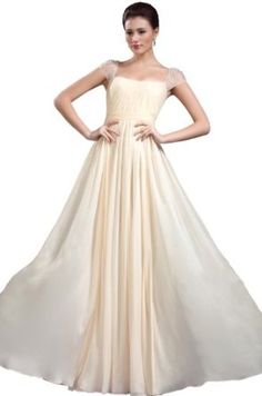 eDressit New Beaded Cap Sleeves Pleated Long Evening Dress Prom Ball Gown(02131914)