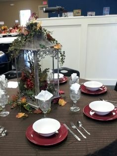 Fall table setting I did for a church function