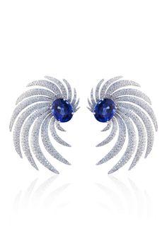 MOLU Angel Wings Collection Diamond Saphire Earrings @Helen Palmer Palmer Palmer Palmer Palmer McMurren Hill Marcus Houston