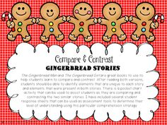 This is a reader's response activity that goes along with The Gingerbread Man by Jim Aylesworth and The Gingerbread Girl by Lisa Campbell. These two similar stories are great to use when teaching your students to compare and contrast. After reading, students can use the pocket chart activity to practice identifying story elements that are unique to each story and elements that occurred in both stories.