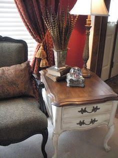 Welcome to The Nest Eclectic: Little French Finale - refurbished end table.