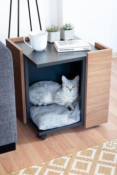 Cat or Little Dog Cave / Bed Furniture Coffee Table Modern Cat Furniture, Diy Furniture Decor, Pet Furniture, Little Dogs, Niche Chat, Dog Cave, Cat Room, Space Cat, Pet Accessories