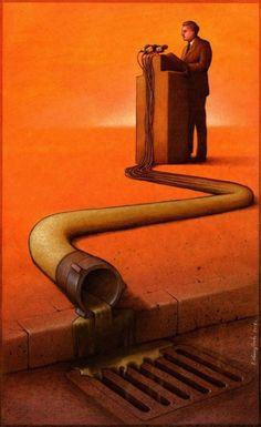 Quanti bei discorsi in realtà nascondono meri interessi per prepotenti politiche energetiche? Le ciniche illustrazioni di Pawel Kuczynski - Focus.it