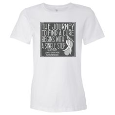 """Whether you're walking, jogging or running for a cause, you need to set yourself apart with this cute slogan design called """"The Journey to Find A Cure Begins With A Single Step"""" Women's Fashion T-Shirts for Lung Disease awareness featuring a ribbon over a footprint to signify that every step counts. $19.99 awarenessribboncolors.com"""