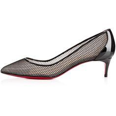 Christian Louboutin Follies Resille ($795) via Polyvore featuring shoes, pumps, black shoes, black mid heel shoes, christian louboutin, heels & pumps and mid heel shoes