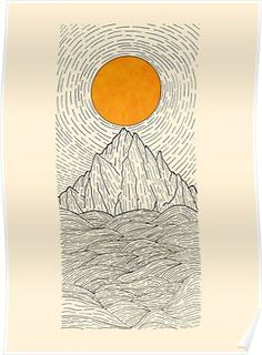 f80b327e4b9d The sun over the mountain waves Poster Framed Prints