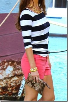 Adorable Cute Casual Outfit Summer Fashion Love the monochrome and hot pink = perfect spring/summer outfit Casual Outfit Summer, Casual Summer Outfits, Summer Clothes, Casual Hair, Pink Clothes, Womens Fashion Casual Summer, Summer Fashions, Weekend Outfit, Weekend Wear