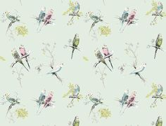 Chirpy wallpaper from our Halcyon collection. Featuring a couple of budgies surrounded by delicate florals. Colourways: red, page green, mint and white.