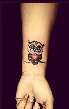 Cute Owl With Heart Tattoo On Right Wrist