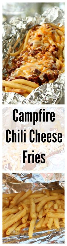 fastest way to make a camping trip even better is by serving up these chili cheese fries, made over the campfire.The fastest way to make a camping trip even better is by serving up these chili cheese fries, made over the campfire. Grilling Recipes, Cooking Recipes, Easy Recipes, Nacho Recipes, Light Recipes, Chili Cheese Fries, Campfire Food, Campfire Recipes, Bonfire Food