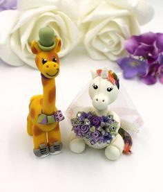 Unicorn personalized wedding cake topper, giraffe cake topper, mr and mrs custom geek fantasy wedding Personalized Wedding Cake Toppers, Custom Cake Toppers, Custom Cakes, Unicorn Wedding, Giraffe Cakes, Groom Ties, Unicorn Cake Topper, Fantasy Wedding, Purple Wedding