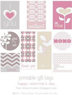 Free Valentine's Day tag printables. www.drawitmodern.blogspot.com