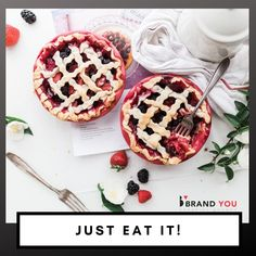 Just Eat It! That should be the motto of all your customers! We can make it happen! At Brand You, we believe the food and beverage industry has an important role in people's lives and our branding experts can help you stand out in the industry! Holiday Baking, Christmas Baking, Rice Crispy Cake, Baking Soda Teeth, Mini Pie Recipes, Kinds Of Pie, Parchment Paper Baking, Vintage Baking, Berry Pie