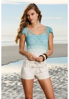 Dip Dye Crochet Cold Shoulder Top - Love this but could not pull it off but very mermaidy, @Amanda Snelson Fraser