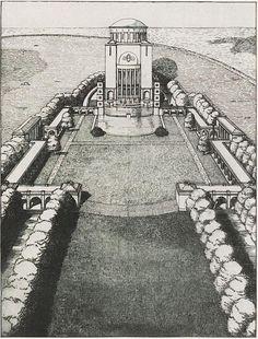 Fritz Schumacher, Ehrenhof an einem bestehende Wasserturm, 1916