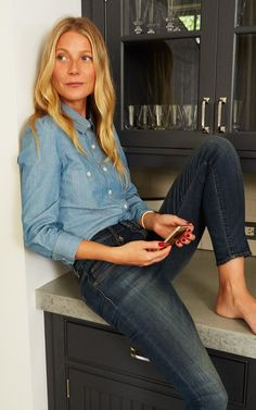 Gwyneth Paltrow in goop Label chambray shirt