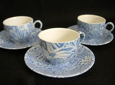 Burleigh Scilla 3 Demitasse Cups Saucers by Lillian Delevoryas England