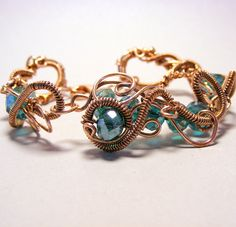 Copper Jewelry - Copper Wire Bracelet with teal crystals - Copper Bracelet - Wire Jewelry - Statement Piece
