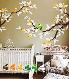 Frog Prince and Birds wall decal Boy decals Nursery and tree wall sticker removable office decals- Z304 by Cuma