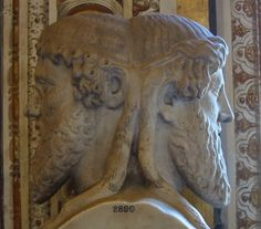 Janus Bifrons in the Vatican Museums, the god of beginnings and transitions, god of gates and doorways, endings and time. A two-faced god looking to the future as well as the past. Month of January dedicated to Janus by Romans Ancient Rome, Ancient History, Romulus Et Remus, Pagan Christmas, Christmas Traditions, Roman Gods, Roman Sculpture, Greek And Roman Mythology, Les Religions
