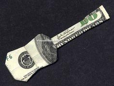 Dollar Bill Origami GUITAR - UKULELE - Made with a $100 bill. Designed by Jodi Fukumoto.